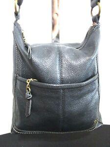 The Sak, Medium Size Black Leather Top Zip Crossbody Shoulder Handbag