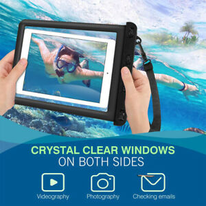 IPX8 Waterproof Tablet Case Dry Pouch w/Lanyard&Transparent Windows,up to 11inch
