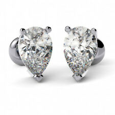3.00 Ct VVS1 Solitaire Diamond Earrings Real Pear Cut 14K White Gold Studs A12