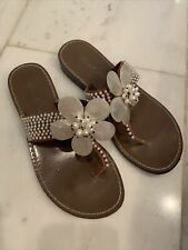 Beverly Feldman Dubai Sandals Shell Pearls Bride Beach Flower Rhinestones