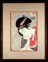 Flower Fan Japanese 1940's Color Print after Utagawa UTAMARO Framed