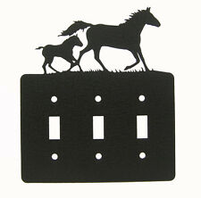 Mare & Foal Horse Triple Switch Cover Plate Black
