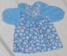"Doll Clothes 5 1/2"" Blue Cotton Dress w Pleated Collar"