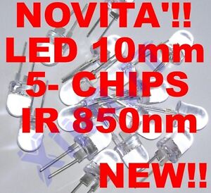 Infrared LED Infrared Ir 850nm 10mm 5-CHIPS 40° 100mA High Power Brightness
