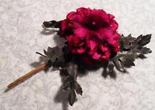 UNUSUAL VINTAGE FUSCHIA FABRIC & FEATHER LIKE FLOWER TRIM EMBELLISHMENT W/FERNS