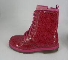 Agatha Ruiz De La Prada Pink Flower Detail lace Up Boots UK 1.5 EU34 JS181 AG 05