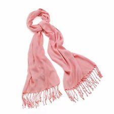 Ladies Peach Pashmina Style Tassel Scarf / Shawl