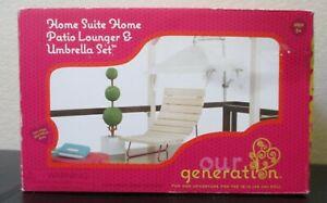 Our Generation OG Doll Home Suite Patio Lounger & Umbrella Set