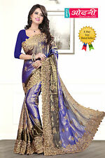 Indian Bollywood Embroidered Navy Blue Color Satin Chiffon Party Wear Saree Sari