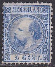 1867-68 Koning Willem III 5 cent blauw kamtanding 12¾ : 11¾ NVPH 7 II A (*)