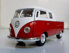 RED 1963 Volkswagen VW Classical BUS DOUBLE CAB PICKUP Diecast 1/34 Pull Back