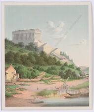 """""""Reconstruction of Acropolis in Athens"""", English color lithograph, 1830/40"""