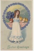 Vintage Postcard Easter Girl With Chicks Violets Embossed 1909