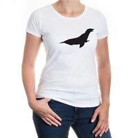Damen Kurzarm Girlie T-Shirt Robbe Meerestier Seehund Raubtier