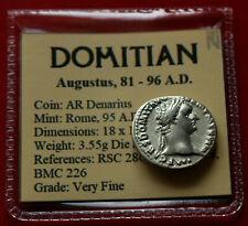 Genuine VF Roman Coin 95AD Domitian Silver Denarius Minerva Rome