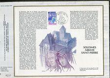 DOCUMENT CEF PREMIER JOUR  1980  TIMBRE   N° 2112 L ABBAYE SAINT PIERRE SOLESMES