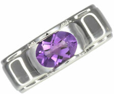 Solitaire Natural Oval Amethyst Fine Rings