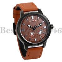 Mens Date Analog Quartz Waterproof Brown Leather Band Casual Sport Wrist Watch