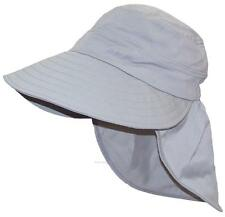 Women's Floppy Wide Brim Summer Hat W/Neck Flap, Bonnet, Bucket #1009 Gray