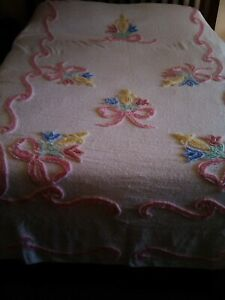 "Vintage White & Multi-color Floral Bows Thick Chenille Bedspread 99"" by 71"""