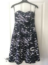H&M Navy Blue White Strapless Wedding Party Dress Size US 6 UK 8-10 With Pockets