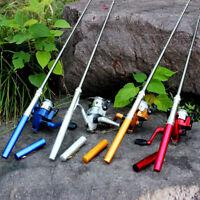 Aluminum Mini Retractable Pocket Pen Fishing Rod Pole with Fishing Reel US RF