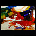MARDI GRAS Aceo Original Art Painting Colors Red Purple Abstract by DFrancis