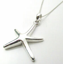 Funky 925 Sterling Silver Starfish Pendant - 18 inch silver box Necklace 35x21mm
