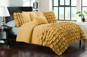 3 Piece Half Ruffle Duvet Cover 1000TC 100% Egyptian Cotton Twin Size all Colors