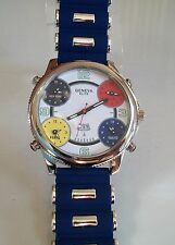 Geneva Silver Finish Blue Band 5 Time Zone With Date Men's Large Fashion Watch