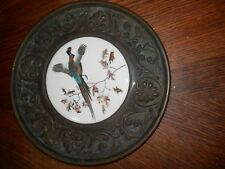 Vintage Brass Plate Pheasant Bird Ceramic Art Hang Wall Decor Tray