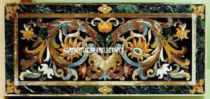 Green Marble Dining Table Pietradura Inlaid Outdoor Mosaic Elegant Decor H3352