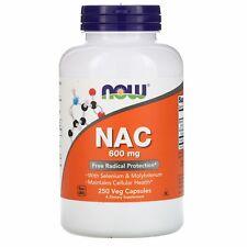 Now Foods NAC 600 mg 250 Veg Capsules GMP Quality Assured, Kosher