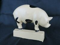 "Vintage Cast Iron Pig Door Stop Sow Hog Boar Swine Heavy Figurine 7"" W x 6"" H"
