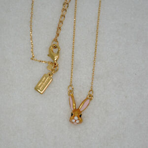 Kate Spade New York Jewelry bunny pendant gold plated necklace enamel rabbit NWT