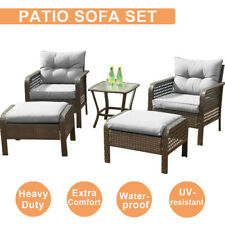 5Pcs Outdoor Patio Sofa Furniture Set Rattan Wicker Cushion Outdoor Garden Decor