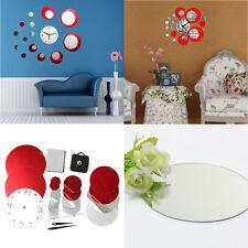 Luxury Red Circle 3D Mirror Effect Wall Clock Sticker Home Modern DIY Decor Gift