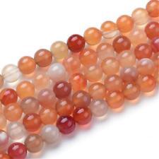 Natural Orange White Carnelian Gemstone Loose Beads Round 6mm