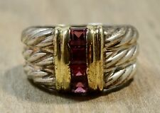 David Yurman 14K Sterling Silver Tri Braided Pink Topaz Ring
