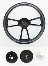"60-69 Chevy Truck C / K Series Carbon Fiber and Black Steering Wheel 14"" Bowtie"