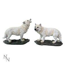 WHITE WOLVES WOLFS X 2 THE WATCHERS RESIN FIGURINES PAIR OF NEW AND BOXED