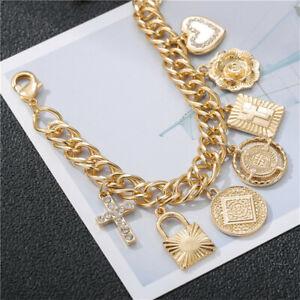 Gold Copper Cross Heart Charms Fashion Chain Bracelets For Women Bracelet Gift