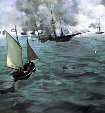 Battle of the Kearsarge and the Alabama  Edouard Manet Giclee Canvas Print Repro