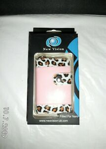 Pink Faux Leather Leopard print wallet folio case for ipod nano 1st/2nd Gen UK