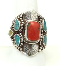 Vintage Sterling Silver Coral Green Blue Turquoise Ring Size 9 Southwestern