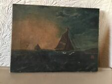 Gorgeous Vintage Oil Painting On Canvas of a Boat