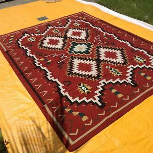Navajo Kilim Hand-Woven Tribal 8x10 ft Turkish Kilim Oriental Large Area Rug