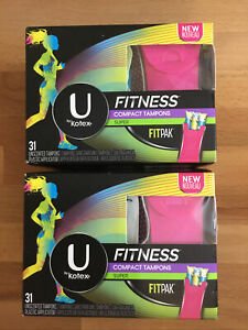 LOT Of 2-U by Kotex Fitness Compact Tampons 31ct (62)Super Unscented New Sealed
