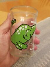Welch'S Welches glass Dinosaurs green Brontosaurus Bright Graphics Jelly Jam