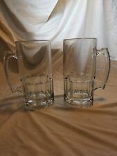 Pair of Libbey 1 Liter Mugs 33.8oz Beer Stein, Root Beer Mug, HEAVY! Clear Glass